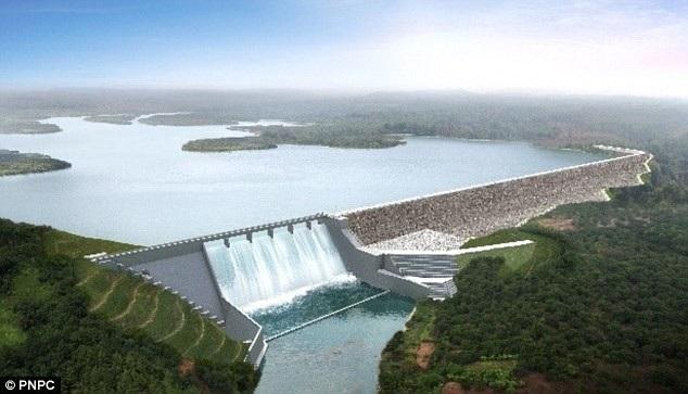 Phối cảnh đập thủy điện Xe-Pian Xe-Namnoy sau khi hoàn thiện (Ảnh: PNPC)