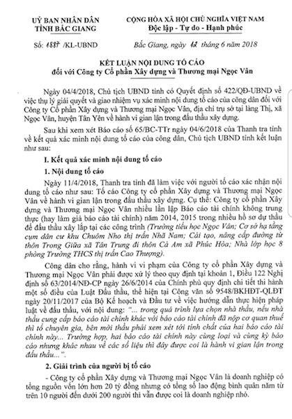 Chủ tịch UBND tỉnh Bắc Giang công khai chỉ rõ sai phạm trong vụ việc doanh nghiệp gian dối đấu thầu được Sở KH&ĐT kết luận ưu ái giảm nhẹ tội.