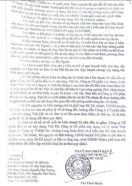 Ngày 15/4/2010, UBND thành phố Hà Nội ban hành Văn bản số 2593/UBND-KH&ĐT chấp thuận về chủ trương cho liên doanh Công ty cổ phần Đầu tư và xây dựng Việt Hà, Công ty cổ phần xây dựng và kỹ thuật Việt Nam và Công ty TNHH Đại Hoàng Long nghiên cứu lập và thực hiện Dự án di dời các cơ sở sản xuất, xây dựng Khu đô thị Việt Hà trên khu đất Dự án CCN Phú Minh.