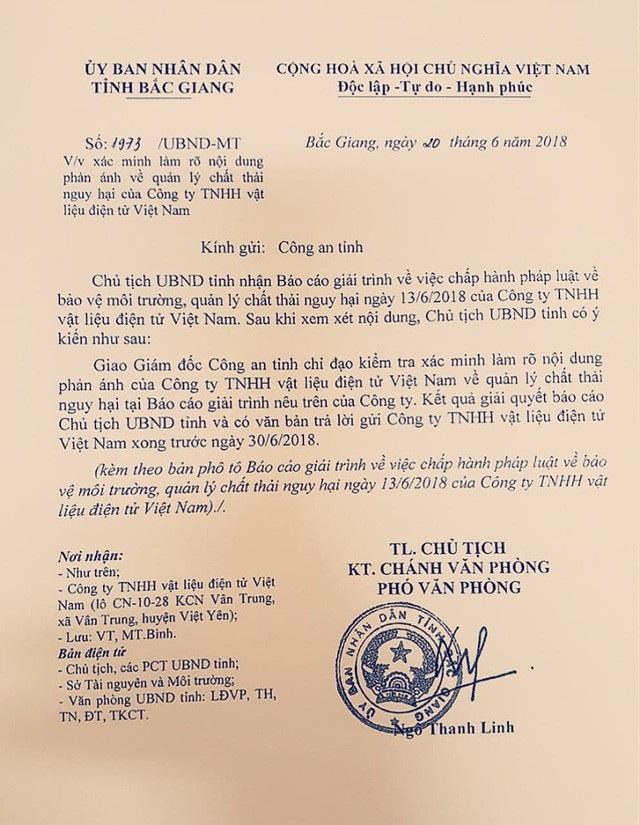 Chủ tịch UBND tỉnh Bắc Giang chỉ đạo Công an tỉnh Bắc Giang làm rõ sự việc.