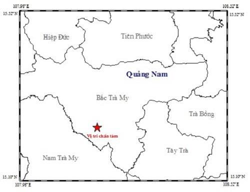 Tâm chấn trận động đất 3,7 độ Richter xảy ra ở huyện Bắc Trà My rạng sáng 28/7. (Ảnh Viện Vật lý địa cầu)