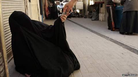 Một người ăn xin ở Ảrập Xê-út.