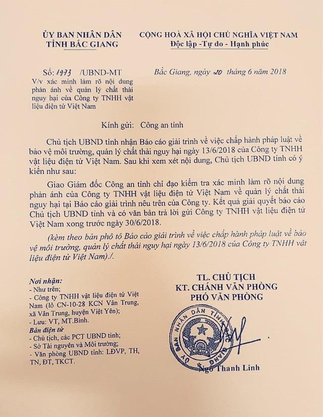 Chủ tịch tỉnh Bắc Giang đã giao Giám đốc công an tỉnh chỉ đạo xác minh làm rõ nội dung báo cáo của Công ty TNHH vât liệu điện VN.