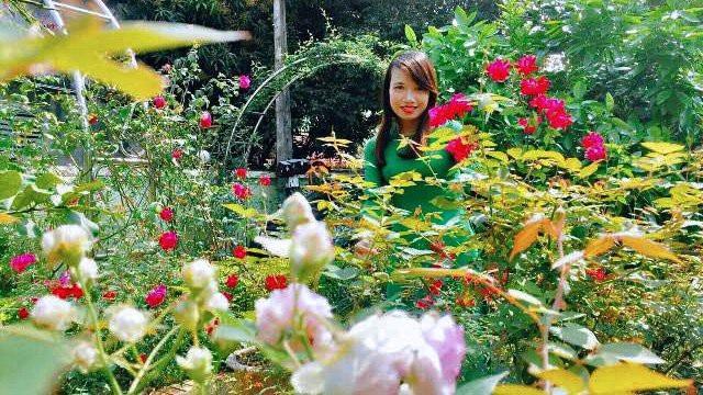 Cô Hằng thích thú ngắm vườn sau những giờ lên lớp căng thẳng.