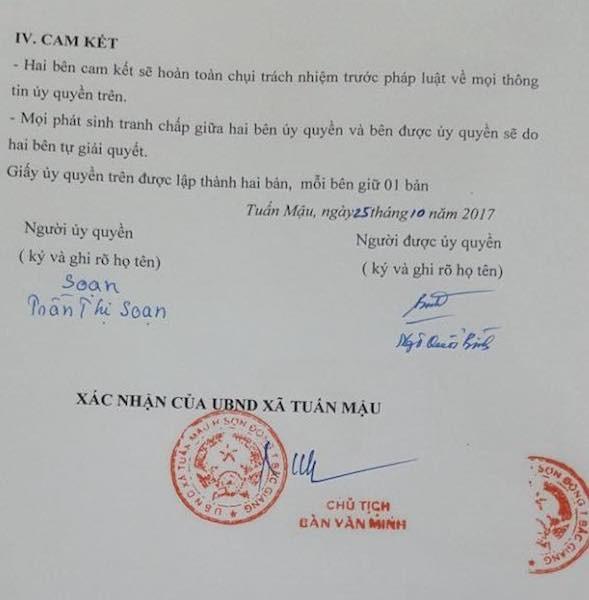 Ông Ngô Quốc Bình cùng luật sư cho rằng: ông Bình nhận tiền theo uỷ quyền chứ không nhận tiền với tư cách là chủ sử dụng đất, đối tượng được đền bù nên không thể nói UBND huyện Sơn Động đã chi trả sai đối tượng.