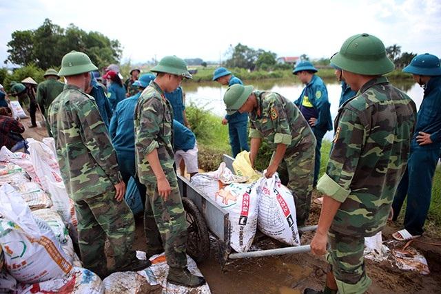 Lực lượng vũ trang được huy động đến xử lý hiện tượng tràn đê tả Bùi
