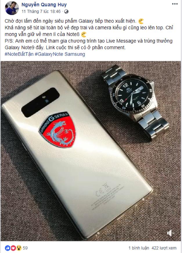 """Note9 sẽ """"đẹp trai"""" và """"men lì"""" hơn trong trí tưởng tượng của youtuber Nguyễn Quang Huy."""