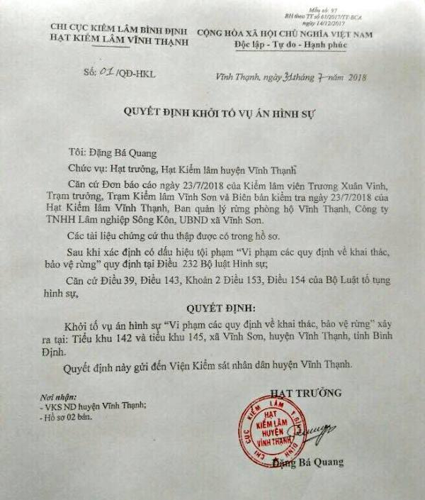 Hạt kiểm lâm huyện Hoài Ân vừa ra quyết định khởi tố vụ án phá rừng lớn tại xã Vĩnh Sơn, huyện Vĩnh Thạnh.