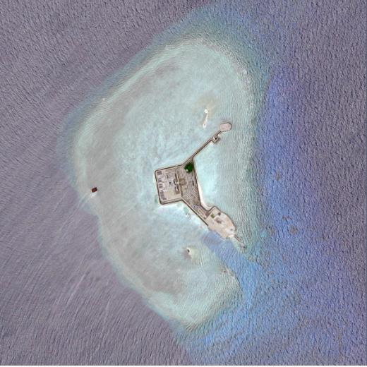 Ảnh vệ tinh chụp đá Gaven thuộc quần đảo Trường Sa của Việt Nam hồi tháng 4 (Ảnh: Reuters)