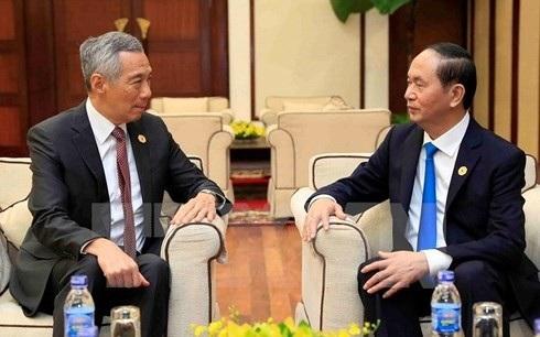 Chủ tịch nước Trần Đại Quang trong một buổi tiếp Thủ tướng Singapore Lý Hiển Long. (Ảnh: TTXVN)