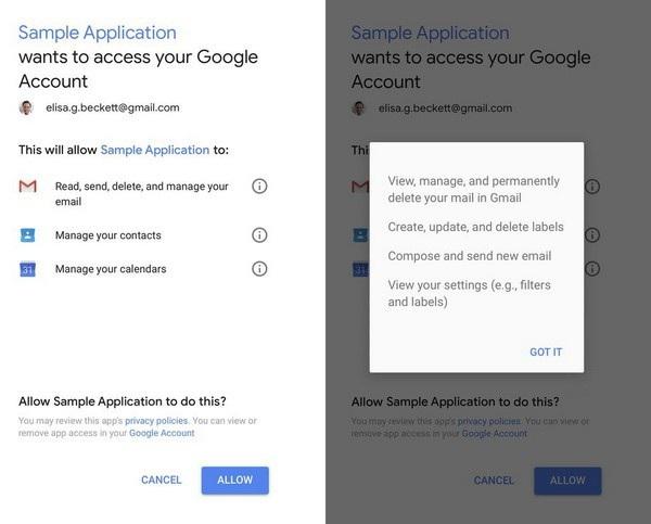 Nếu bạn đã từng thấy hộp thoại yêu cầu quyền hạn như hình minh họa này xuất hiện khi bạn đăng nhập tài khoản Gmail vào một ứng dụng thì rất có thể bạn đã cấp quyền cho ứng dụng đó đọc email của mình