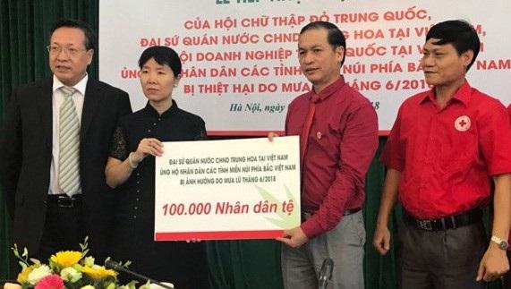 Các tổ chức của Trung Quốc ủng hộ nhân dân các tỉnh miền Bắc Việt Nam chịu thiệt hại do mưa lũ vừa qua