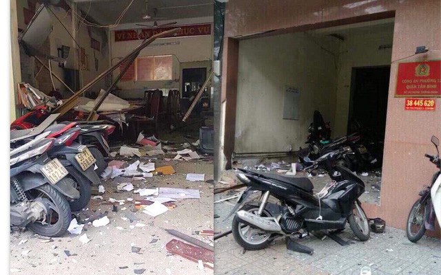 Trụ sở công an phường 12, quận Tân Bình sau vụ nổ