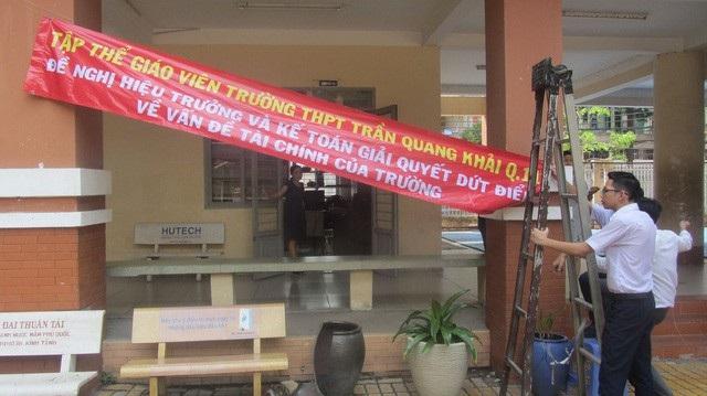 Trường THPT Trần Quang Khải (quận 11, TPHCM) - nơi xảy ra sự việc giáo viên treo băng rôn ngay giữa sân trường đòi hiểu trường công khai minh bạch về tài chính.