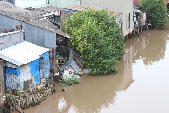 Khu vực sạt lở có nguy cơ tiếp tục xảy ra, đe dọa nhiều nhà dân quanh bờ sông.