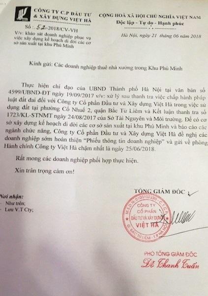 Công văn của Côg ty Việt Hà khiến các doanh nghiệp phản ứng.