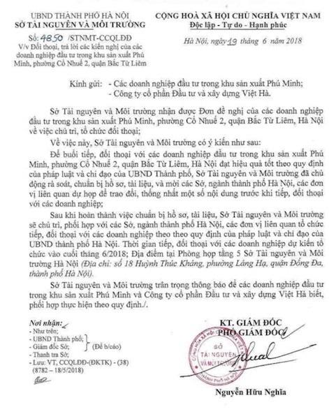 Dự kiến buổi đối thoại giữa các doanh nghiệp và SỞ TN&MT TP Hà Nội sẽ được tiến hành vào cuối tháng 06/2018. Thế nhưng đến nay, mọi sự vẫn bặt vô âm tín.
