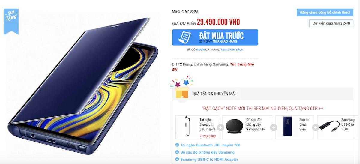Galaxy Note9 giá sẽ 30 triệu đồng