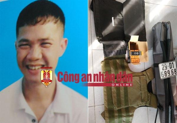 Đối tượng Hiển người đã trực tiếp nổ súng khiến anh Phong bị chết và tang vật thu giữ trong vụ án xảy ra vào sáng 10-8.