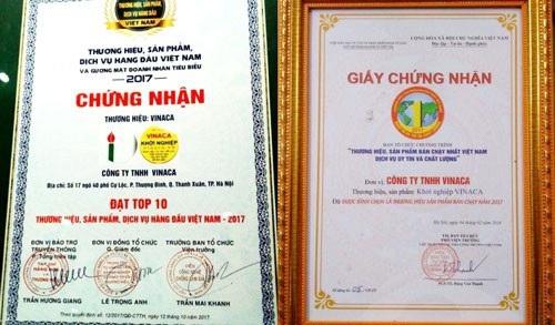 Công ty TNHH Vinaca được tôn vinh với nhiều giải thưởng nhưng làm ăn gian dối (Ảnh: Người Lao Động).