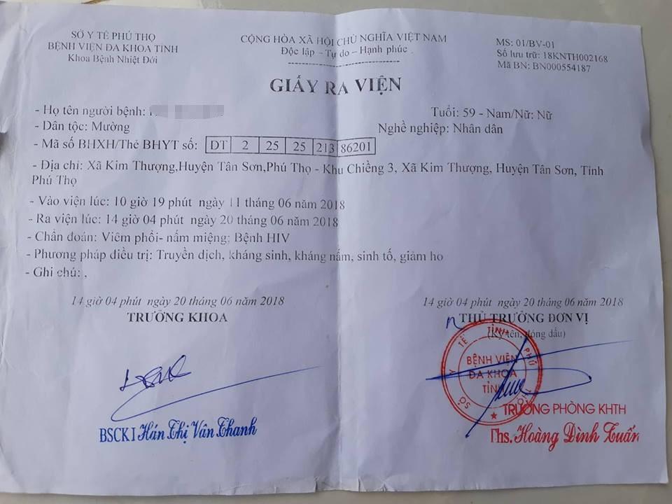 Giấy ra viện của một bệnh nhân bị HIV tại xã Kim Thượng