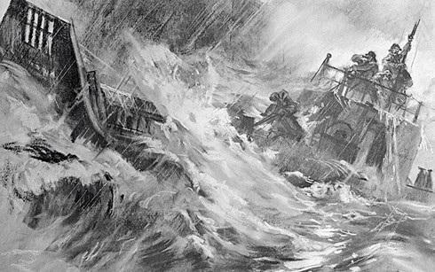 """Bức họa """"Giữa đại dương bão tố"""" của các nghệ sĩ Gorpenko và Denisov, tôn vinh chiến công của 4 quân nhân Xô viết trên sà lan."""
