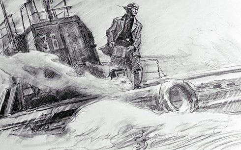 """Bức họa """"Askhat Ziganshin nấu bữa tối"""", cũng của các nghệ sĩ Gorpenko và Denisov."""