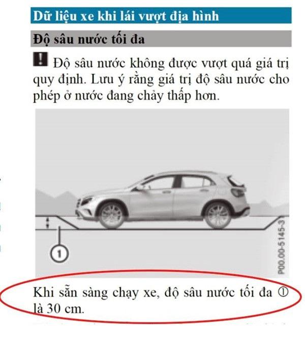 Cảnh báo về mức nước trên sách hướng dẫn sử dụng của Mercedes-Benz GLC
