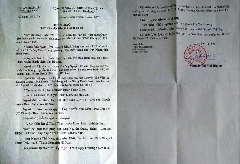 Người dân khởi kiện UBND huyện Thanh Liêm, Tòa mở lại phiên xét xử lần 3! - Ảnh 2.
