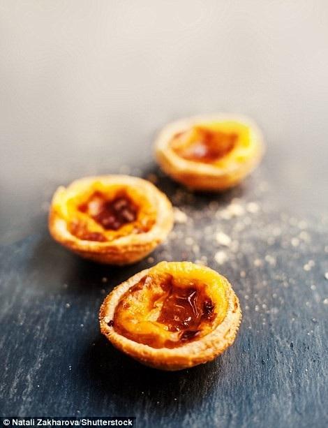 """Món bánh """"pastéis de nata"""", một loại bánh trứng tạc, phủ quế, vốn phổ biến ở Lisbon, Bồ Đào Nha, đứng thứ 12."""