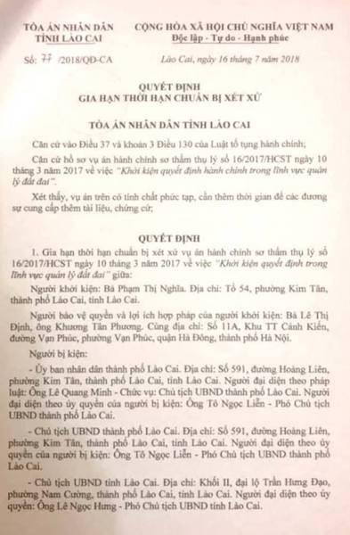 Gia hạn thời hạn chuẩn bị xét xử vụ án người dân kiện Chủ tịch tỉnh Lào Cai ra tòa - Ảnh 1.
