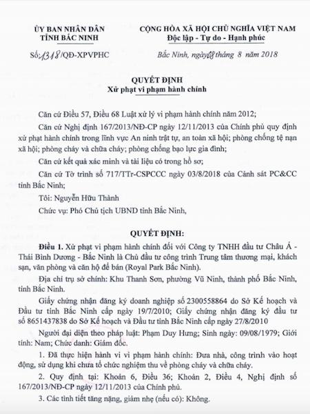 Công trình hoành tráng bậc nhất tỉnh Bắc Ninh phớt lờ phòng cháy chữa cháy! - Ảnh 1.