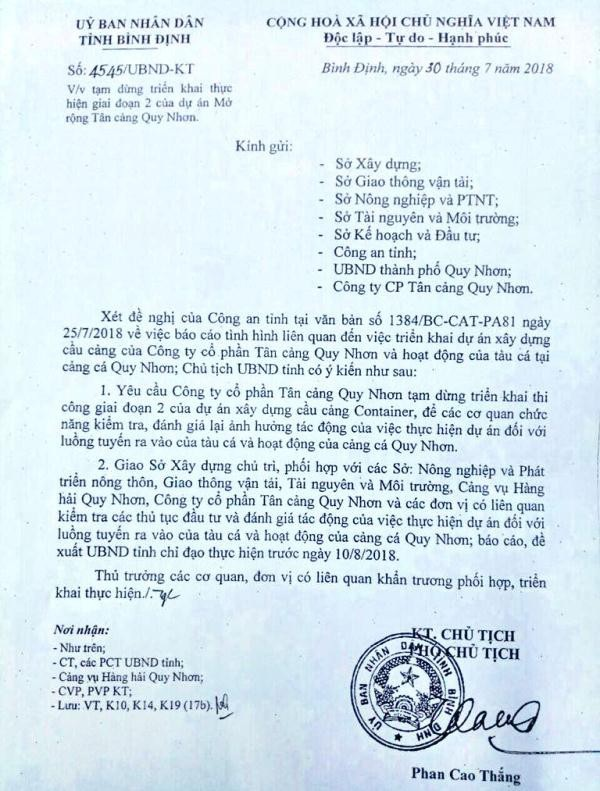 UBND tỉnh Bình Định có văn bản yêu cầu tạm dừng dự án giai đoạn 2.