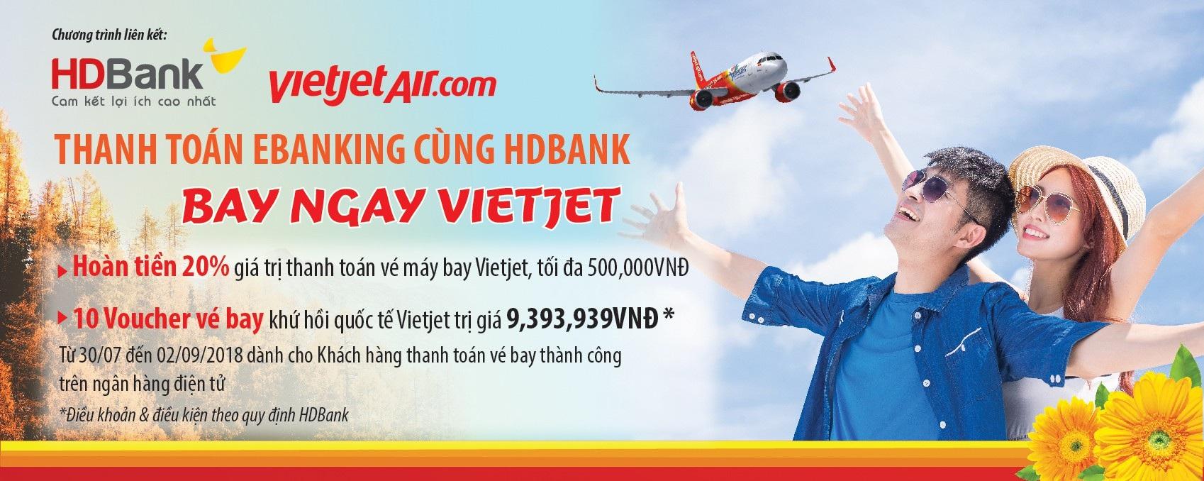Thanh toán eBanking HDBank - Bay ngay cùng Vietjet - 1
