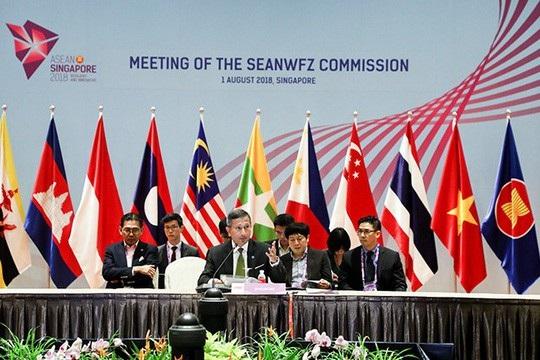 Bộ trưởng Ngoại giao Singapore Vivian Balakrishnan tại cuộc họp của Ủy ban về Khu vực Đông Nam Á không có vũ khí hạt nhân (SEANWFZ) hôm 1-8 Ảnh: UNTVWEB.COM