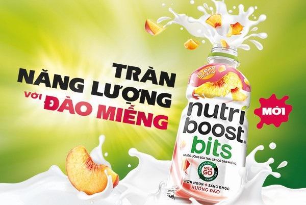 Sữa trái cây Nutriboost với những miếng đào thật nhai sật sật cùng các vi chất cần thiết cơ thể để có một ngày làm việc năng động và hiệu quả