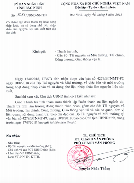 Thanh tra việc nhập khẩu phế liệu làm nguyên liệu sản xuất tại Bắc Ninh - Ảnh 1.