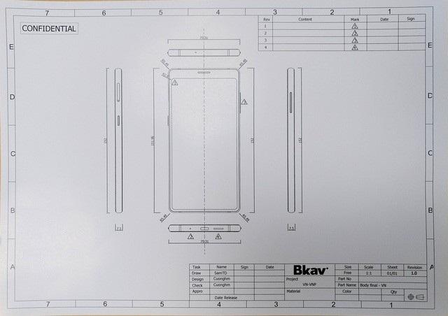 Bản thiết kế kiểu dáng của Bphone 3 đã nộp lên Cục Sở hữu trí tuệ.