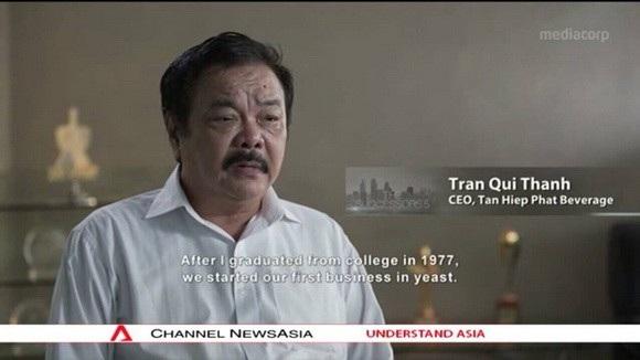 Ông Trần Quí Thanh trong chương trình Channel NewsAsia
