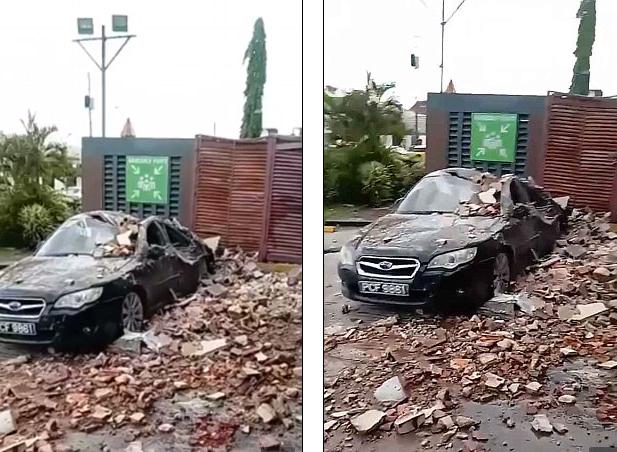 Một xe hơi ở Trinidad và Tobago bị bẹp dúm sau trận động đất. (Ảnh: Twitter)
