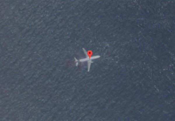 Hình ảnh máy bay chụp qua vệ tinh tại vị trí ngoài khơi Padang, Indonesia. (Ảnh: Google)