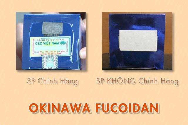 Bên cạnh đó, trên hộp Okinawa Fucoidan hàng chính hãng được bao seal cẩn thận, nhằm tránh các tác động xấu của môi trường. Trên hộp có nhãn phụ bằng tiếng Việt, có ghi số xác nhận công bố (Số XNCB) được cấp bởi Cục Vệ sinh an toàn thực phẩm – Bộ Y tế. Đồng thời, trong mỗi hộp TPBVSK Okinawa Fucoidan chính hãng sẽ có toa hướng dẫn bằng tiếng Việt. Các sản phẩm Okinawa Fucoidan xách tay hoặc hàng giả, hàng nhái sẽ không có những điều này.