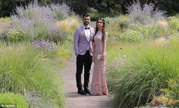 Em gái của Huzni và chồng sắp cưới của cô. (Ảnh: Twitter)