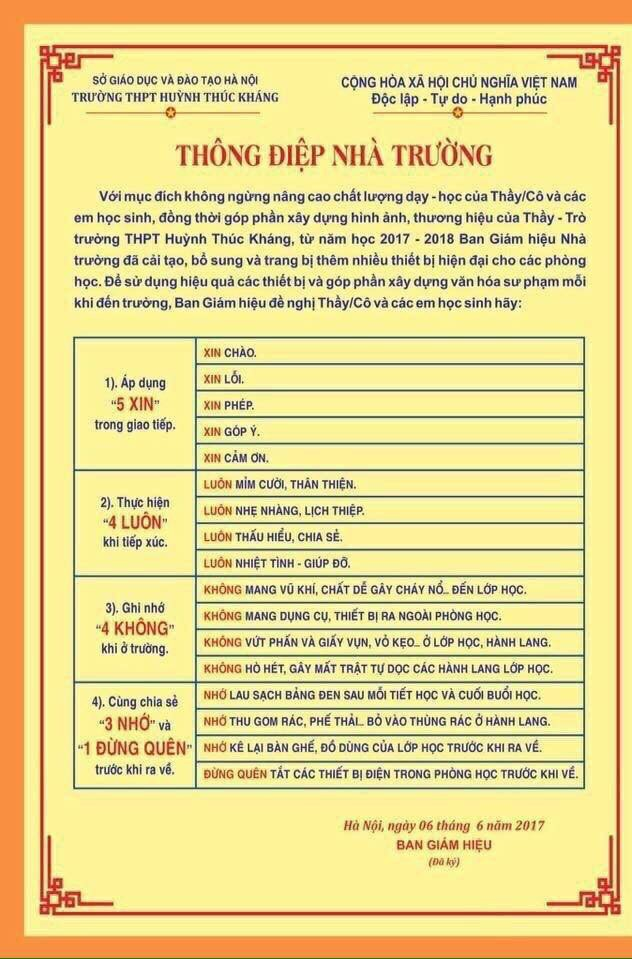 Thông điệp 5 xin, 4 luôn của Trường THPT Huỳnh Thúc Kháng (Hà Nội).