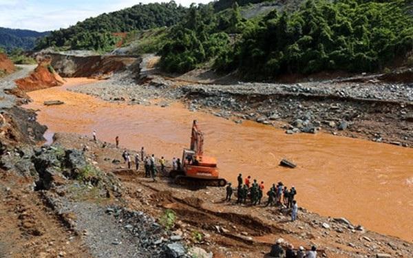 Quang cảnh hiện trường sự cố Thủy điện Sông Bung 2, cách đây 2 năm (Ảnh: VOV)