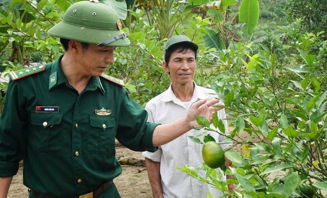 Cán bộ Đồn biên phòng Thông Thụ (BCH BĐBP Nghệ An) hướng dẫn ông Ngân Văn Thanh chăm sóc cây cam