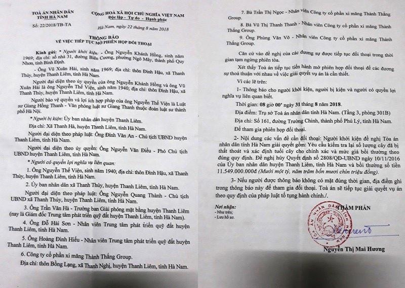Người dân khởi kiện UBND huyện Thanh Liêm: Tòa ra quyết định tạm ngừng phiên tòa - Ảnh 2.