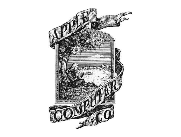 Logo đầu tiên của Apple lấy ý tưởng một người đàn ông đang đọc sách dưới gốc cây táo, và một quả táo được làm nổi bật ở phía trên.