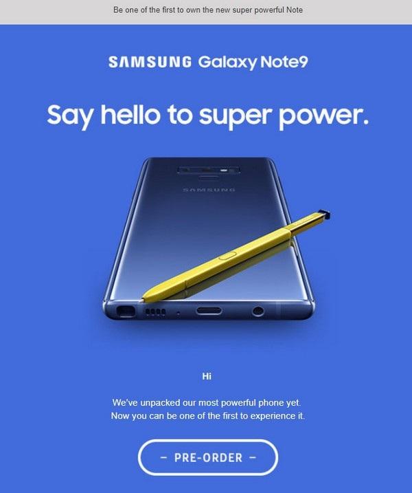 Hình ảnh chính thức của Galaxy Note 9 được Samsung New Zealand đăng tải, nhưng sau đó đã sớm gỡ bỏ
