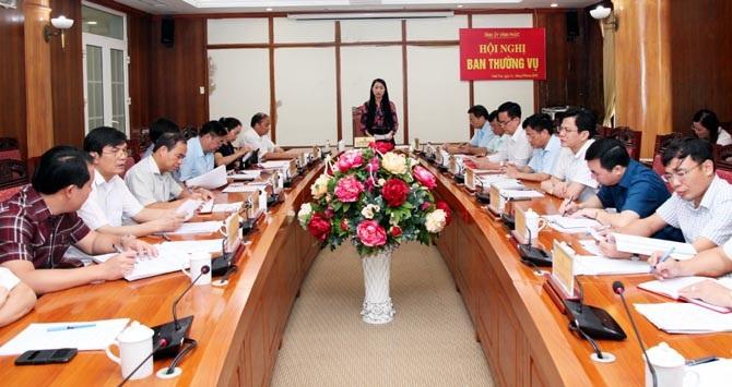 Bí thư Tỉnh uỷ Vĩnh Phúc - bà Hoàng Thị Thuý Lan phát biểu tại cuộc họp mới đây về Đề án thí điểm thực hiện Văn phòng Tỉnh uỷ phục vụ chung các cơ quan tham mưu, giúp việc Tỉnh uỷ (Ảnh: Vinhphuc.gov.vn).